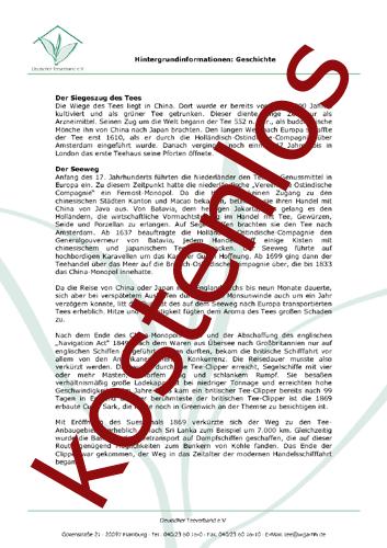 Vorschaugrafik 1 für das kostenlose Arbeitsblatt Die Geschichte des Tees von Lehrermaterial.de.