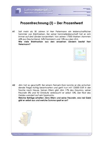 Vorschaugrafik 1 für das  Arbeitsblatt Prozentrechnung (I) – Der Prozentwert von Lehrermaterial.de.