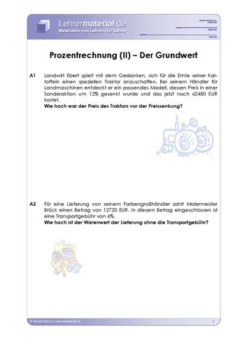 Vorschaugrafik 1 für das  Arbeitsblatt Prozentrechnung (II) – Der Grundwert von Lehrermaterial.de.