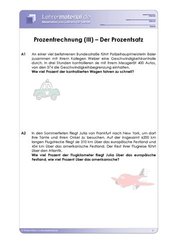 Vorschaugrafik 1 für das  Arbeitsblatt Prozentrechnung (III) – Der Prozentsatz von Lehrermaterial.de.