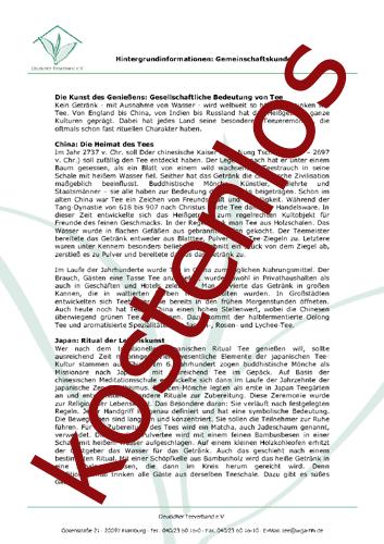 Vorschaugrafik für das kostenlose Arbeitsblatt Der Tee in den Kulturen von Lehrermaterial.de