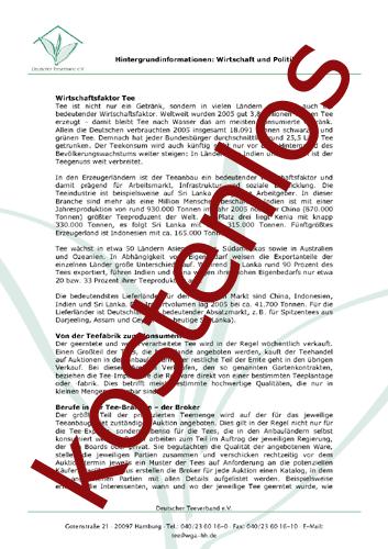 Vorschaugrafik 1 für das kostenlose Arbeitsblatt Der Wirtschaftsfaktor Tee von Lehrermaterial.de.