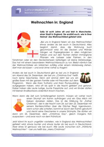 Vorschaugrafik für das  Arbeitsblatt Weihnachten in Europa von Lehrermaterial.de