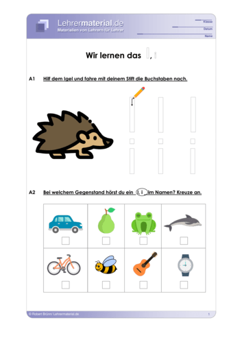 Vorschaugrafik 1 für das  Arbeitsblatt Wir lernen das I, i von Lehrermaterial.de.