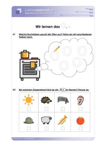 Vorschaugrafik 1 für das  Arbeitsblatt Wir lernen das O, o von Lehrermaterial.de.