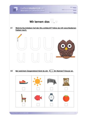 Vorschaugrafik 1 für das  Arbeitsblatt Wir lernen das U, u von Lehrermaterial.de.