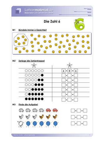 Vorschaugrafik für das  Arbeitsblatt Die Zahl 6 von Lehrermaterial.de
