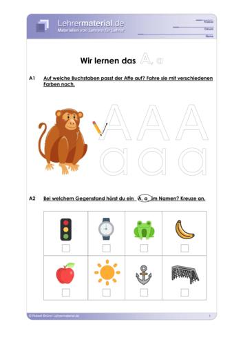 Vorschaugrafik 1 für das  Arbeitsblatt Wir lernen das A, a von Lehrermaterial.de.