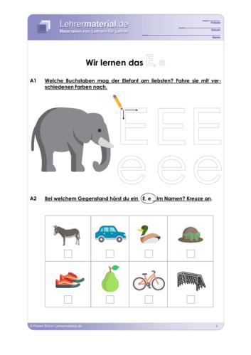 Vorschaugrafik 1 für das  Arbeitsblatt Wir lernen das E, e von Lehrermaterial.de.