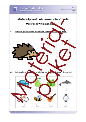 Vorschaugrafik 1 für das  Arbeitsblatt Materialpaket: Wir lernen die Vokale von Lehrermaterial.de.