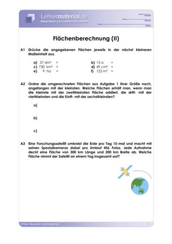 Vorschaugrafik 1 für das  Arbeitsblatt Flächenberechnung (II) von Lehrermaterial.de.