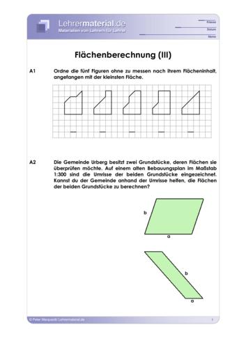 Vorschaugrafik 1 für das  Arbeitsblatt Flächenberechnung (III) von Lehrermaterial.de.