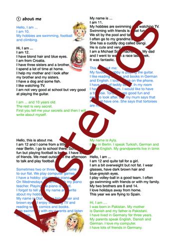 Vorschaugrafik 1 für das kostenlose Arbeitsblatt SMART text trainer - About me (II) von Lehrermaterial.de.