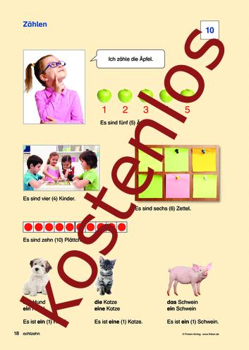 Vorschaugrafik für das kostenlose Arbeitsblatt Komm zu Wort: Zählen von Lehrermaterial.de