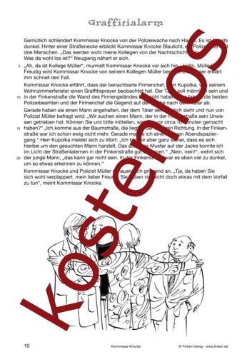 Vorschaugrafik 1 für das kostenlose Arbeitsblatt Kommissar Knocke - Graffitialarm (I) von Lehrermaterial.de.
