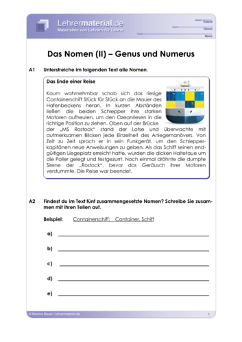 Vorschaugrafik 1 für das  Arbeitsblatt Das Nomen (II) – Genus und Numerus von Lehrermaterial.de.
