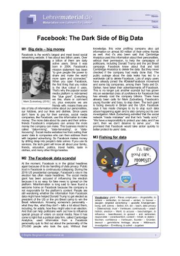 Vorschaugrafik für das  Arbeitsblatt Facebook: The Dark Side of Big Data von Lehrermaterial.de