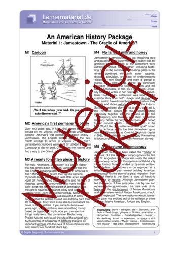 Vorschaugrafik für das  Arbeitsblatt An American History Package von Lehrermaterial.de