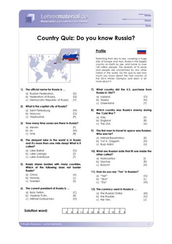 Vorschaugrafik 1 für das  Arbeitsblatt Country Quiz: Do you know Russia? von Lehrermaterial.de.