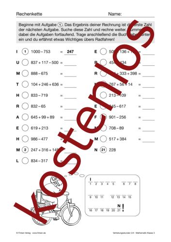 Vorschaugrafik 1 für das kostenlose Arbeitsblatt Vertretungsstunden (III) von Lehrermaterial.de.