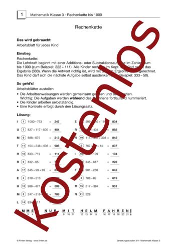 Vorschaugrafik 1 für das kostenlose Arbeitsblatt Vertretungsstunden (IV) von Lehrermaterial.de.