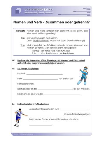 Vorschaugrafik 1 für das  Arbeitsblatt Nomen und Verb - Zusammen oder getrennt? von Lehrermaterial.de.