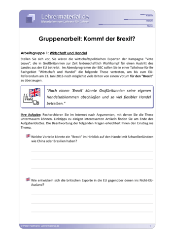Vorschaugrafik 1 für das  Arbeitsblatt Gruppenarbeit: Kommt der Brexit? von Lehrermaterial.de.