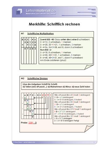 Vorschaugrafik 1 für das  Arbeitsblatt Merkhilfe: Schriftlich rechnen von Lehrermaterial.de.