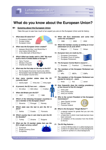 Vorschaugrafik 1 für das  Arbeitsblatt What do you know about the European Union? von Lehrermaterial.de.