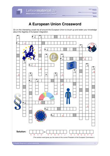 Vorschaugrafik 1 für das  Arbeitsblatt A European Union Crossword von Lehrermaterial.de.
