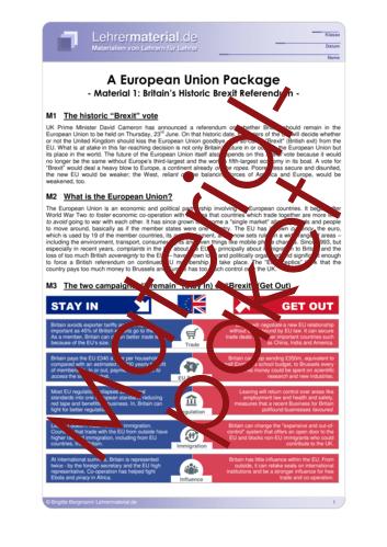 Vorschaugrafik 1 für das  Arbeitsblatt A European Union Package von Lehrermaterial.de.