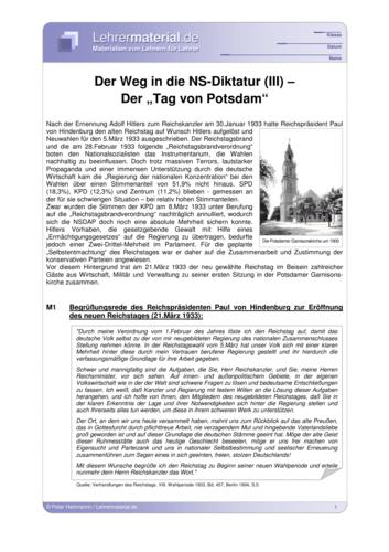 Vorschaugrafik 1 für das  Arbeitsblatt Der Weg in die NS-Diktatur (III) - Der Tag von Potsdam von Lehrermaterial.de.