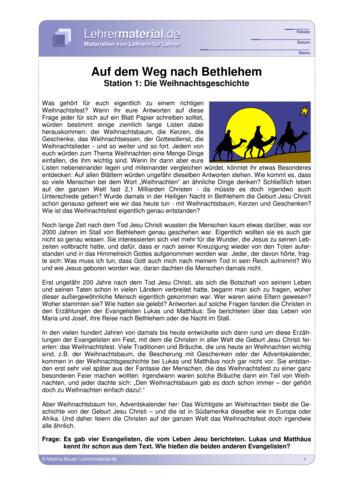 Vorschaugrafik für das  Arbeitsblatt Auf dem Weg nach Bethlehem - Station 1: Die Weihnachtsgeschichte von Lehrermaterial.de