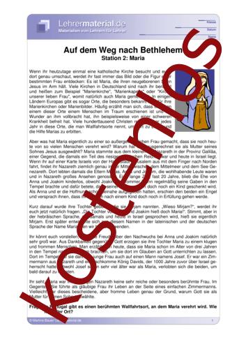 Vorschaugrafik für das kostenlose Arbeitsblatt Auf dem Weg nach Bethlehem - Station 2: Maria von Lehrermaterial.de