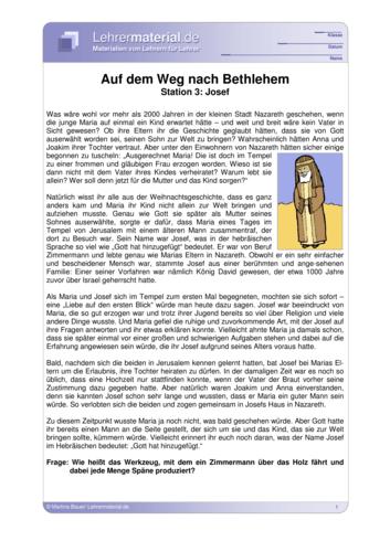 Vorschaugrafik für das  Arbeitsblatt Auf dem Weg nach Bethlehem - Station 3: Josef von Lehrermaterial.de