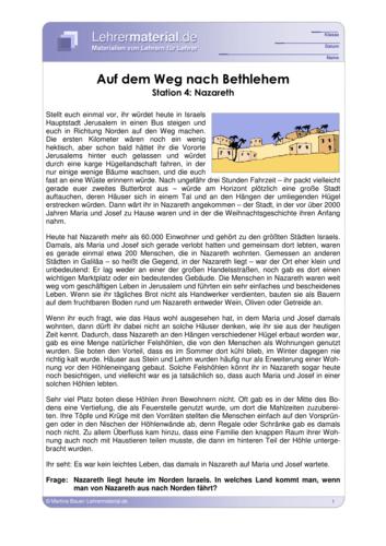 Vorschaugrafik für das  Arbeitsblatt Auf dem Weg nach Bethlehem - Station 4: Nazareth von Lehrermaterial.de