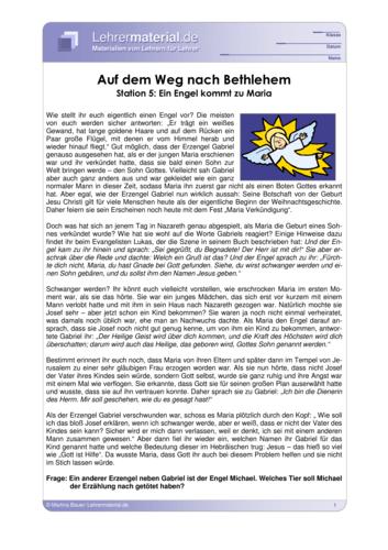 Vorschaugrafik für das  Arbeitsblatt Auf dem Weg nach Bethlehem - Station 5: Ein Engel kommt zu Maria von Lehrermaterial.de