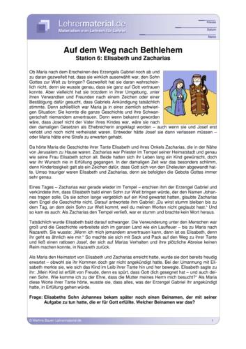 Vorschaugrafik für das  Arbeitsblatt Auf dem Weg nach Bethlehem - Station 6: Elisabeth und Zacharias von Lehrermaterial.de