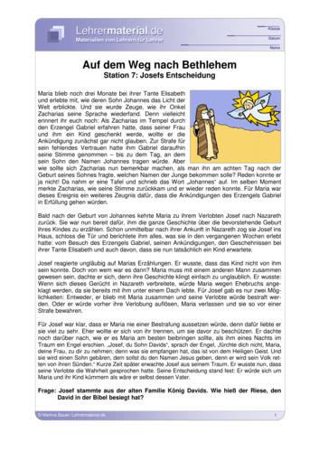 Vorschaugrafik für das  Arbeitsblatt Auf dem Weg nach Bethlehem - Station 7: Josefs Entscheidung von Lehrermaterial.de