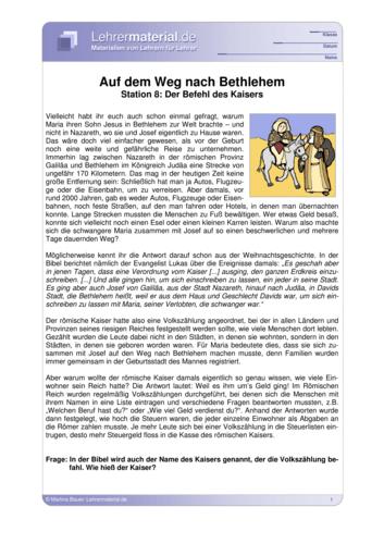 Vorschaugrafik für das  Arbeitsblatt Auf dem Weg nach Bethlehem - Station 8: Der Befehl des Kaisers von Lehrermaterial.de