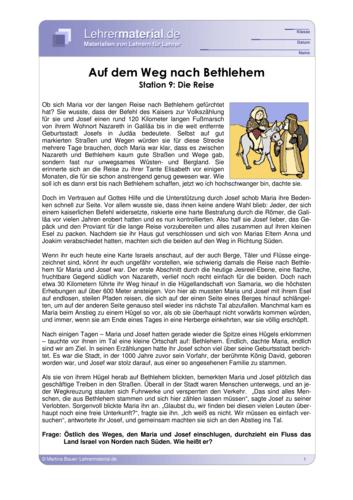 Vorschaugrafik für das  Arbeitsblatt Auf dem Weg nach Bethlehem - Station 9: Die Reise von Lehrermaterial.de