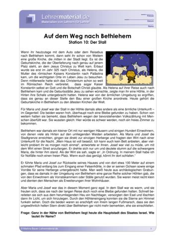 Vorschaugrafik für das  Arbeitsblatt Auf dem Weg nach Bethlehem - Station 10: Der Stall von Lehrermaterial.de