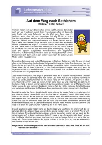 Vorschaugrafik für das  Arbeitsblatt Auf dem Weg nach Bethlehem - Station 11: Die Geburt von Lehrermaterial.de
