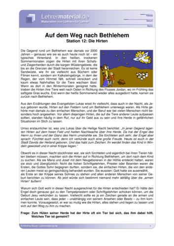 Vorschaugrafik 1 für das  Arbeitsblatt Auf dem Weg nach Bethlehem - Station 12: Die Hirten von Lehrermaterial.de.