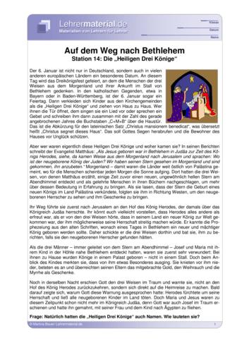 Vorschaugrafik für das  Arbeitsblatt Auf dem Weg nach Bethlehem - Station 14: Die Heiligen Drei Könige von Lehrermaterial.de