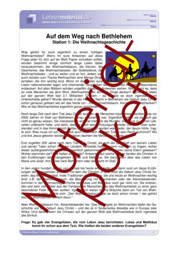 Vorschaugrafik 1 für das  Arbeitsblatt Auf dem Weg nach Bethlehem - Wochenpaket 1 von Lehrermaterial.de.