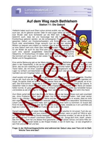 Vorschaugrafik 1 für das  Arbeitsblatt Auf dem Weg nach Bethlehem - Wochenpaket 3 von Lehrermaterial.de.