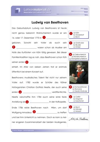 Detailseite für das  Arbeitsblatt Ludwig van Beethoven öffnen