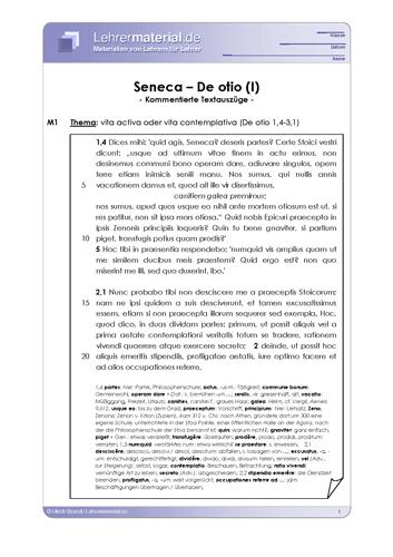 Vorschaugrafik 1 für das  Arbeitsblatt Seneca - De otio (I) von Lehrermaterial.de.