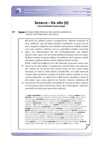Vorschaugrafik 1 für das  Arbeitsblatt Seneca - De otio (II) von Lehrermaterial.de.